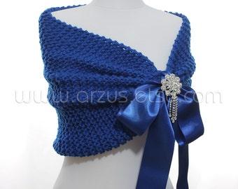 Wedding Shawl, Bridal Shawl, Bridal Wedding Stole, Royal Blue Shawl, Hand Knit Shawl, Blue Capelet, Wedding Capelet, Bridesmaids Gift Shawl