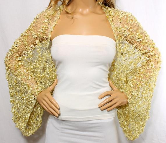 Wedding Shrug Knit Gold Shrug Cover Ups Shawls Wraps Long Sleeve Evening Shrug Weddings Bridal Accessories Shrugs Boleros Bridesmaids Gift