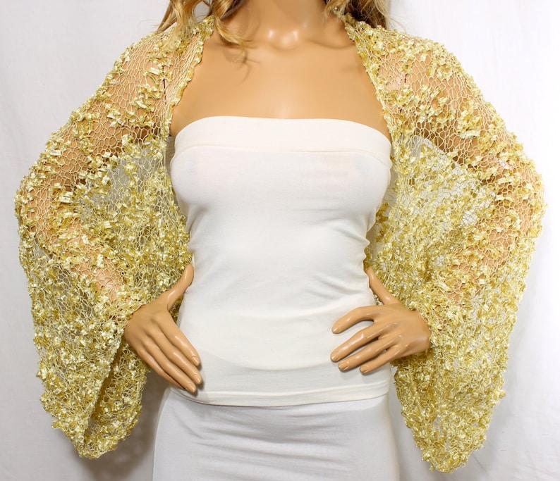 Wedding Shrug Knit Gold Shrug Cover Ups Shawls Wraps Long image 0