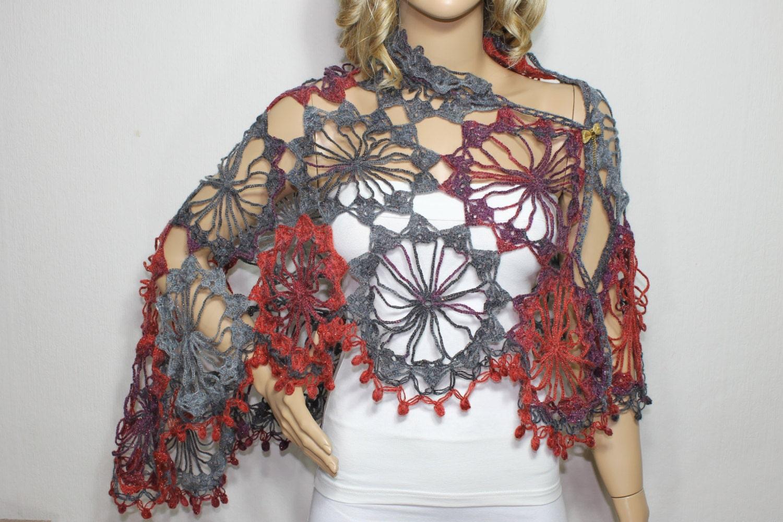 Crochet chal bufanda de ganchillo nupcial mantón mantón de   Etsy