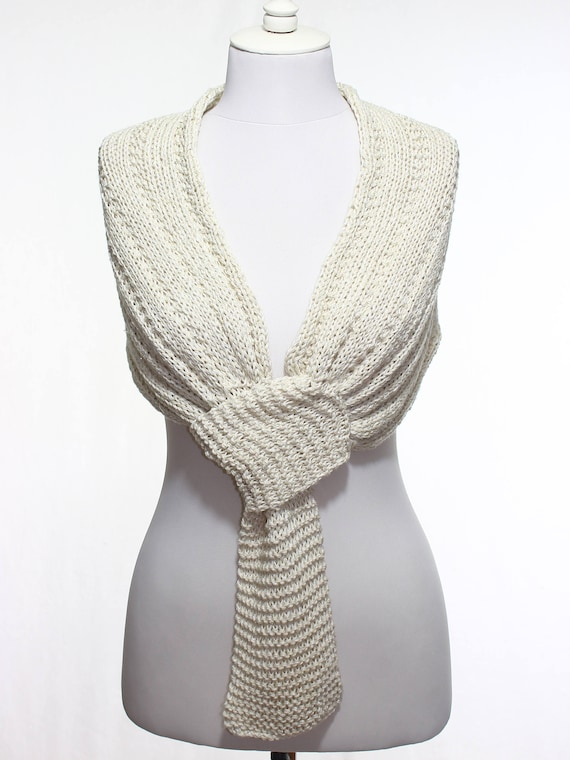 Hueso blanco orgánica algodón boda nupcial mantón de novia   Etsy