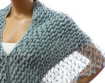 Hand Crochet Shawl Azure Crocodile Wedding Shawl Scarf,Bridal Wedding Shawl, Wrap Capelet, Bridesmaid Shawl, Gift Ideas For Her Mom