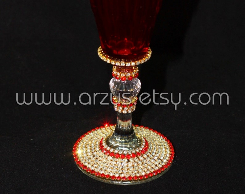 Customized Handmade Wedding Red Champagne Flute Toasting Flute Bridal Flute Champagne Flute Wedding Glasses Birthday Glasses Sweat 16 Party