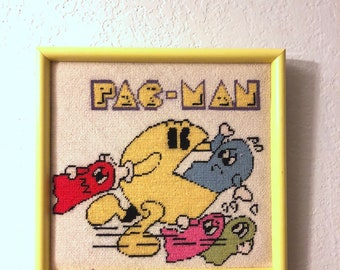 Pacman and Ghost Framed Needlepoint Wall Art 12x12