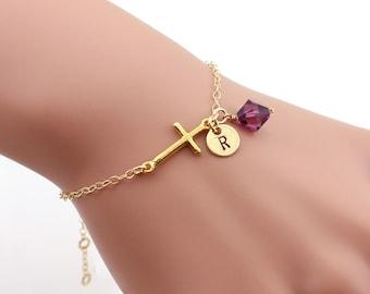 Gold filled cross bracelet, monogram bracelet, Personalized bracelet, best friend bracelet, sister bracelet, gift for her