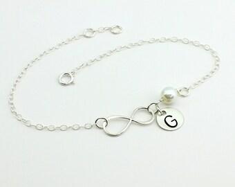 Infinity bracelet, monogram bracelet, personalized infinity bracelet, best friend bracelet, Sister bracelet,mother of bride,, gift for her