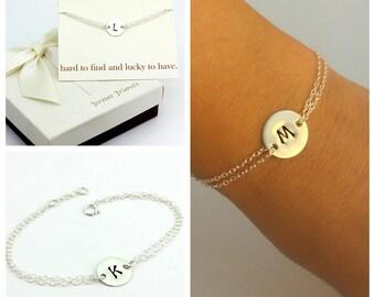 Sterling silver hand stamped initial disc bracelet. Mother of the groom bracelet. Sister bracelet. Best friend bracelet, gift for her