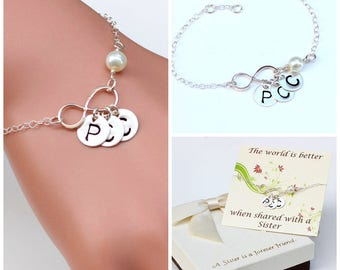 Sterling silver Infinity bracelet, Sister bracelet, best friend bracelet, Infinity bracelet, gift for her, handmade, jewelry Christmas gift