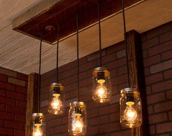 Chandeliers pendant lights etsy mason jar lights with reclaimed wood and 5 pendants r 1434 cmj 5 chandelier aloadofball Images