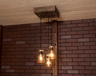 Rustic lighting, Mason Jar Chandelier With Reclaimed Wood and 3 Pendants. R-1212-CMJ-3/ Mason Jar Lights