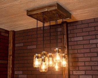 Dining Room Lighting, Mason Jar Chandelier With Reclaimed Wood and 7 Pendants. R-1818-CMJ-7