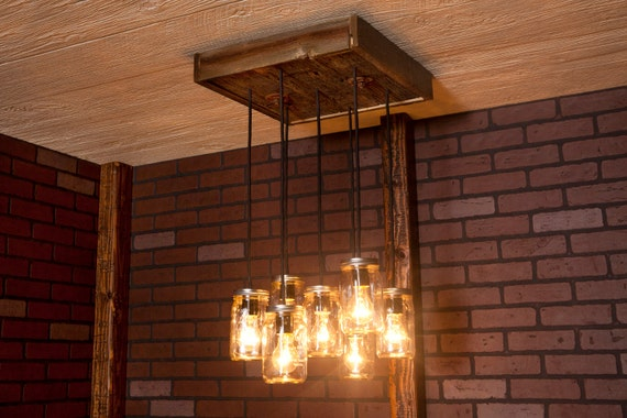 Dining Room Lighting Mason Jar Chandelier With Reclaimed Wood   Etsy