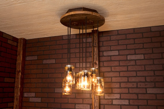 Modern Farmhouse Mason Jar Lights Chandelier Pendant