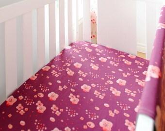 Organic Crib Sheet in Cherry Blossoms