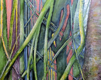 """Original oil painting """"Tanglewood""""  34 by 30 inches"""