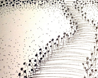 Walk in the Garden - ACEO Original pen and ink drawing on paper (#018 )