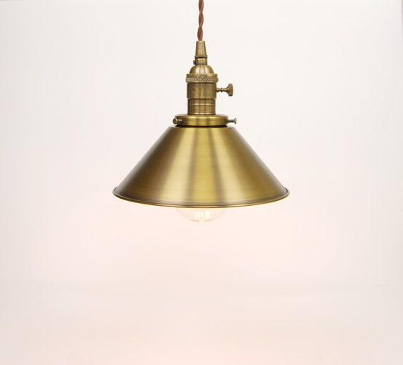 Pendant Light Antique Brass 8 Metal Cone Shade W/