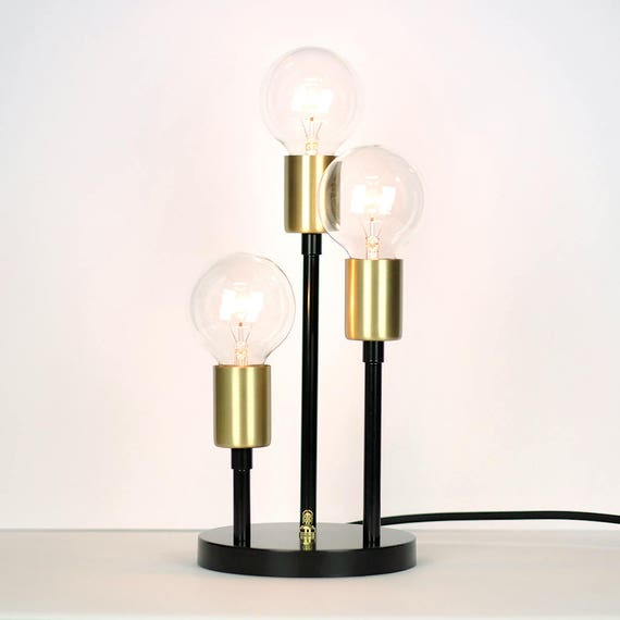 Arys Mid Century Modern Table Lamp With Triple Socket Cup Etsy