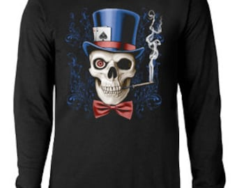 Long sleeve T-shirt / Skull in Top Hat