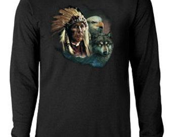 Long sleeve T-shirt / Native American / Wolf / Eagle