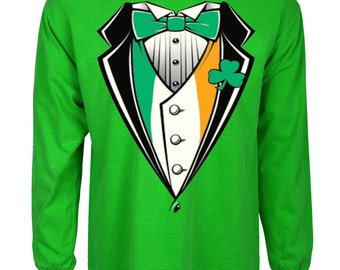 Funny st patricks day shirt Irish Tuxedo green long sleeve tee