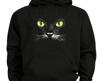 Black cat hoodie green eyed cat sweatshirt