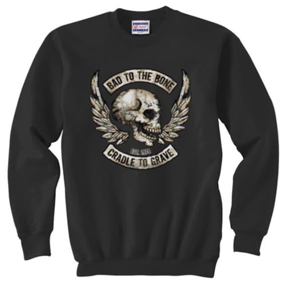 Bad to the bone cradle to the grave sweatshirt Men/'s dark gray biker skull wings