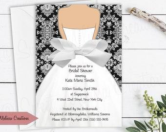 6354919caf9 Damask   Bow Bridal Shower Invitation - Wedding Invitation - Black - White  - Multiple Colors - DIY -Print at home - Sweet Melissa Creations