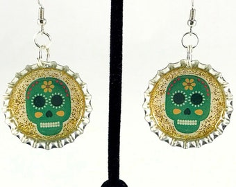 Skull Earrings, Sugar Skull, Day of the Dead, Mexican Jewelry, Green Skull, Dia de los Muertos, Bottle Cap Earrings, Gift for Her