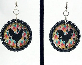 Rooster Earrings, Farm Life, Farm Fresh, Chicken Earrings, Chicken Jewelry, Bottle Cap Earrings, Kitsch Jewelry, Gift got Her