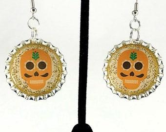 Skull Earrings, Sugar Skull, Day of the Dead, Mexican Jewelry, Yellow Skull, Dia de los Muertos, Bottle Cap Earrings, Gift for Her