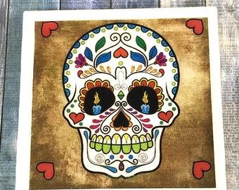 Sugar Skull Coaster, Mexican Tile, Skull Tile, Drink Coaster, Skull Wall Decor, Sugar Skull Tile, Day of the Dead Coaster, Dia de los Muerto
