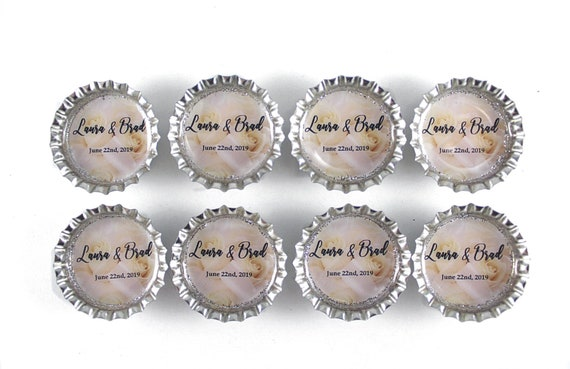 Save the Date Save the Date Magnet Bottle Cap Magnet Kitsch Decor White and Gray Wedding Favors Party Favors Wedding Magnets