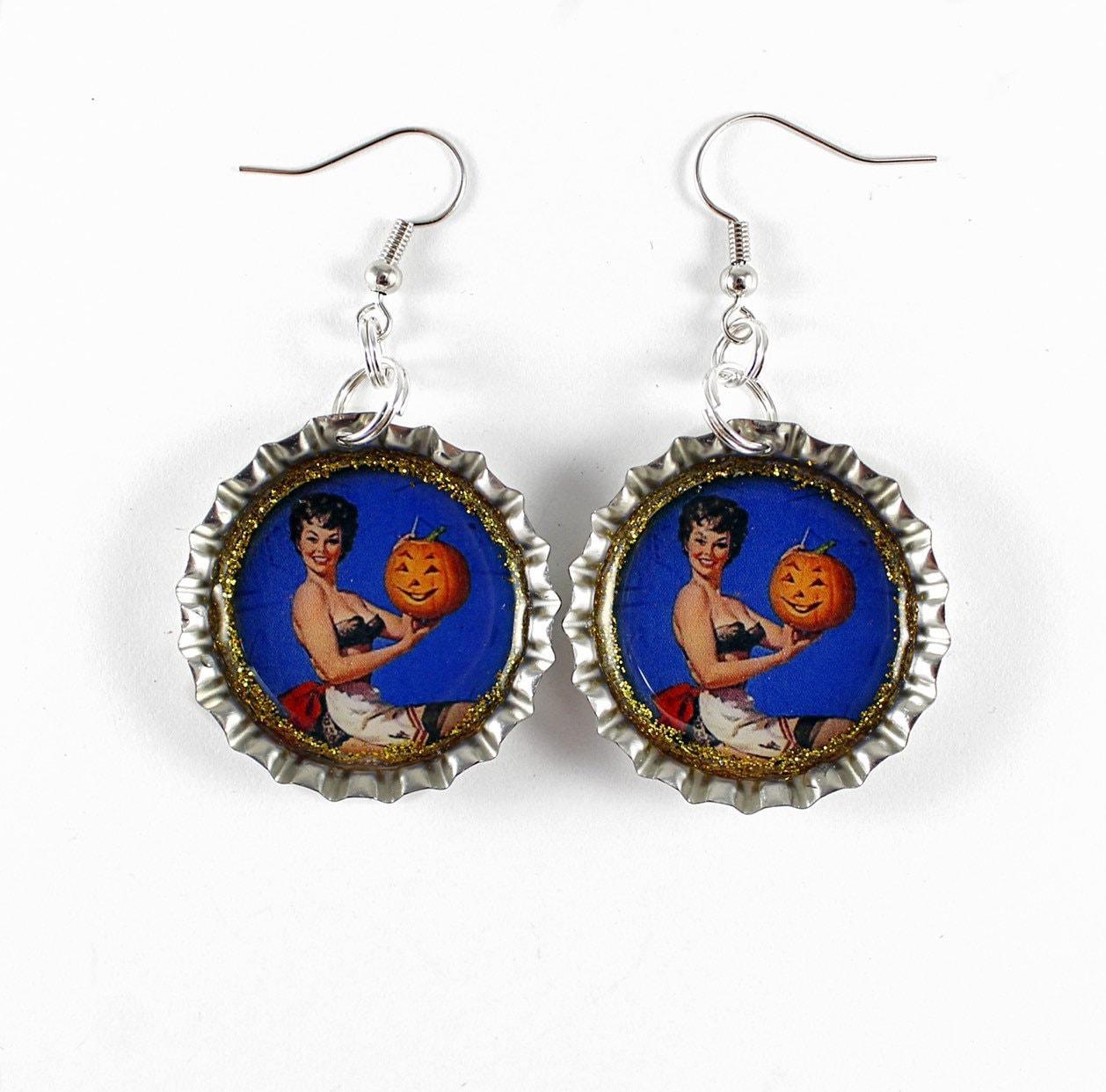 Witches Hat Dangle Earrings Earings Bottlecap Earrings Jewellery Jewelry Halloween Earrings
