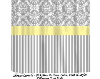 Damask And Stripe Gray Yellow Shower Curtain Any Color