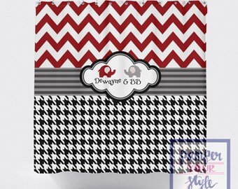 Chevron And Houndstooth Elephant Shower Curtain