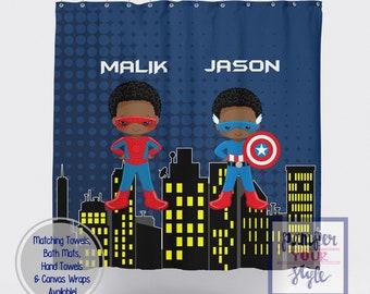 Spiderman And Captain America Custom Shower Curtain