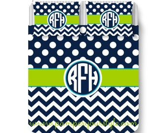 Polka dot and Chevron Duvet Bedding - Navy, Lime Green and Turquoise Bedroom - Circle Monogram Bedding - College Custom Bedding