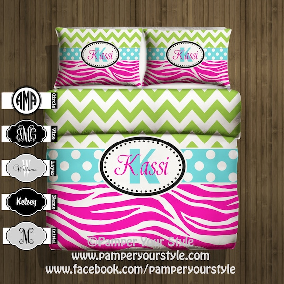 Chevron Bedding Chevron And Zebra Monogrammed Bedding Etsy
