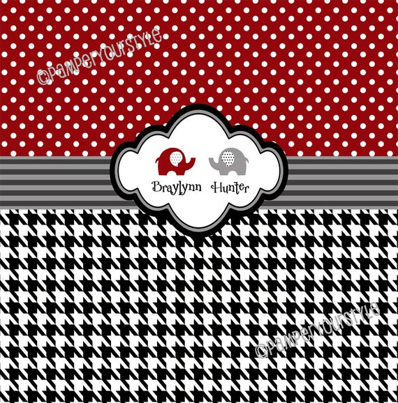Alabama Shower Curtain Personalized Houndstooth And Damask
