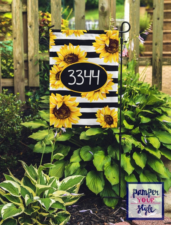 Sunflower Garden Flag Stripes And Sunflower Address Garden Etsy