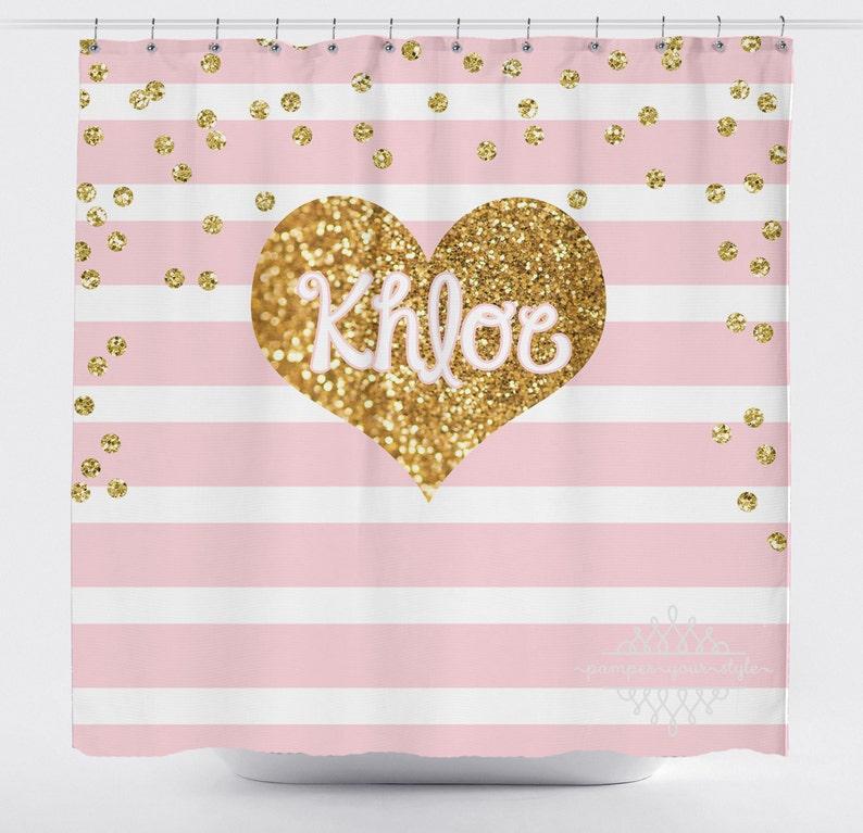 Light Pink Stripe And Gold Glitter Heart Shower Curtain