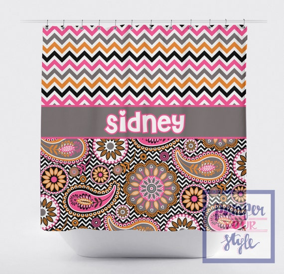 Chevron And Paisley Monogrammed Shower Curtain Personalized