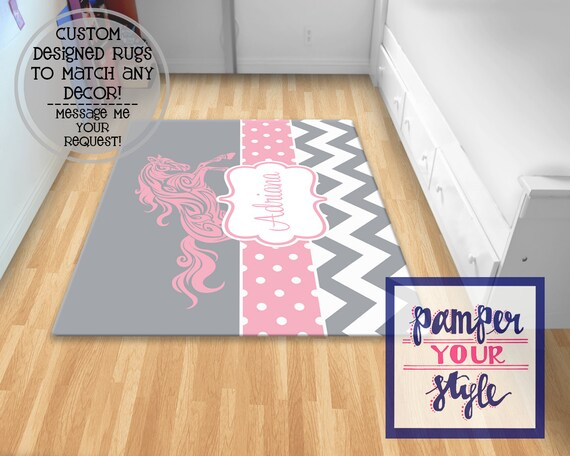Horse Area Rug Horse Bedroom Gray And Pink Horse Rug Etsy