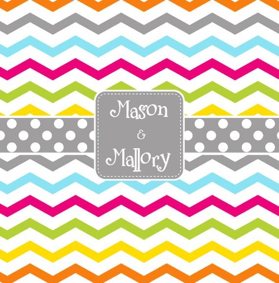 Multi Chevron And Polka Dot Personalized Shower Curtain