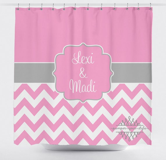 Custom Designed Chevron Gray And Pink Shower Curtain Boys And Etsy