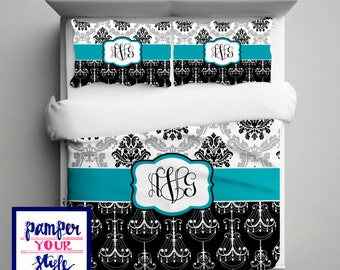 Damask and chandelier bedding with pillows personalize damask and chandelier bedding with matching shams personalize with name or monogram aloadofball Images