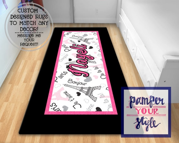 Paris Personalized Area Rug Black And Pink Paris Area Rug