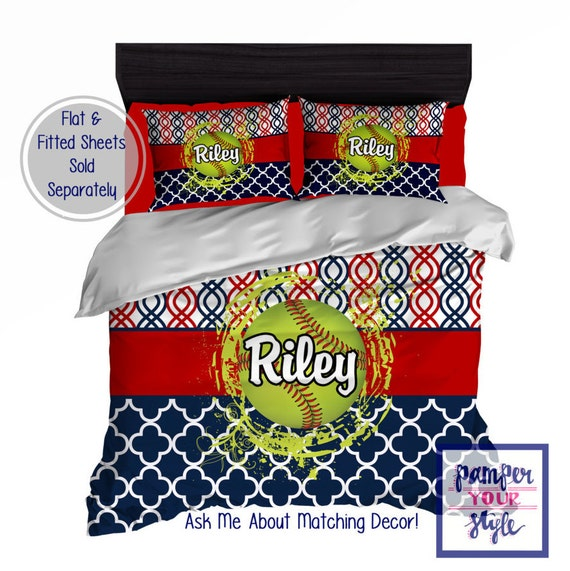 Softball Bedroom Softball Personalized Bedding Design My | Etsy
