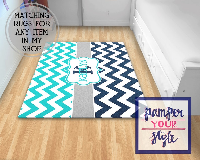 Personalized Rug Enter Rug, Foyer Rug Chevron Turquoise and Navy Blue Rug Bedroom Rug Monogrammed Livingroom Monogrammed Rug